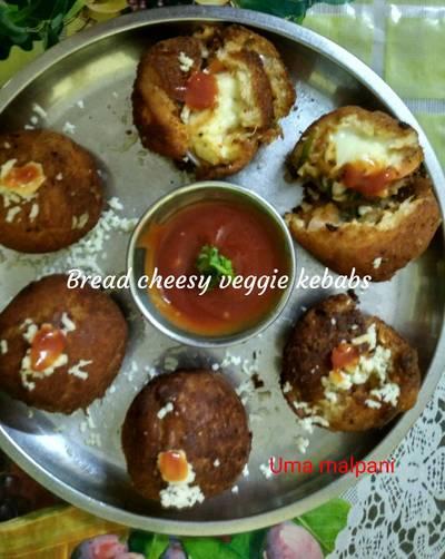 Bread cheesy veggie kebabs