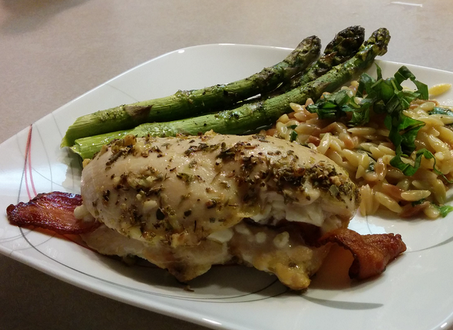 Feta & Bacon Stuffed Chicken with Orzo with Parmesan & Basil