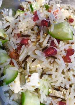 Wild rice and feta cheese salad