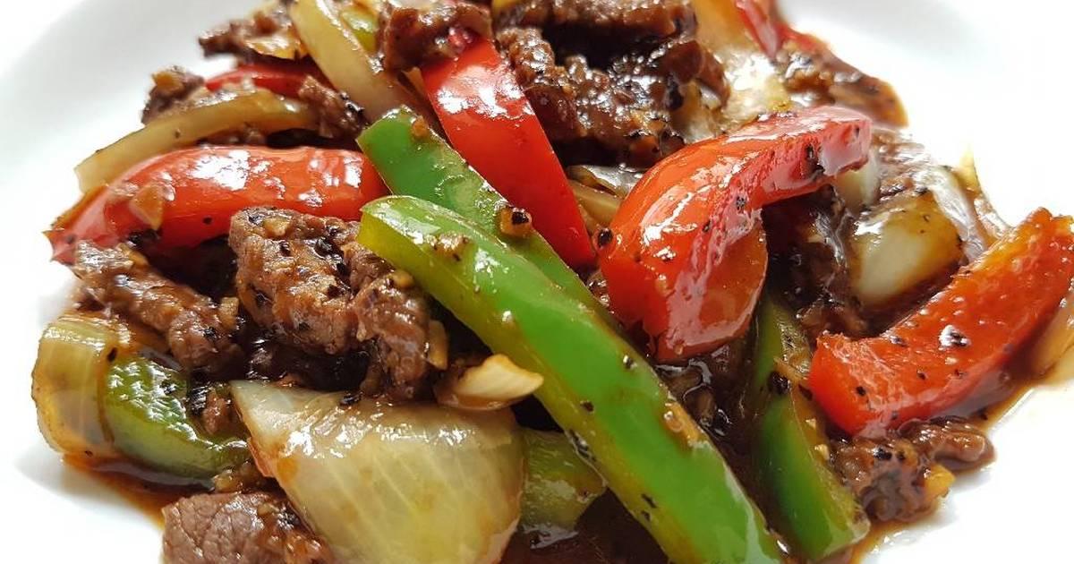 Stir Fry Beef In Black Pepper Sauce Recipe By Ikhwan Arif