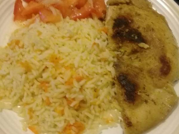 Pan grilled pork with carrot rice