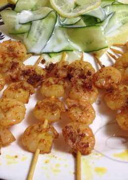 Shrimp Tikka with cucumber ribbon salad