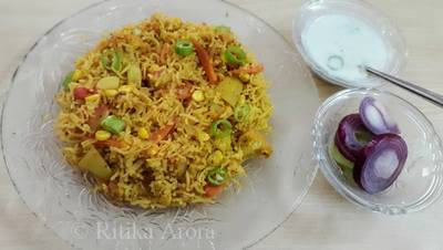 Tawa pulao with curd