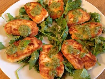 Fried Halloumi Cheese with Caper and Basil Dressing