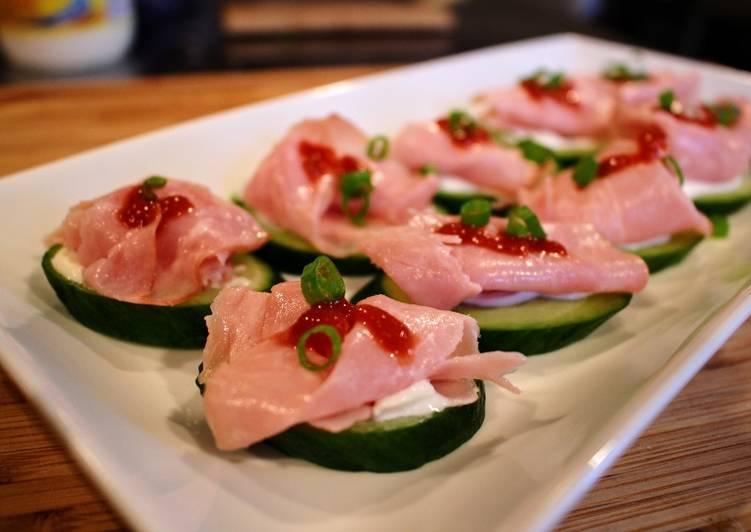 Cucumber, Ham & Sriracha Bites