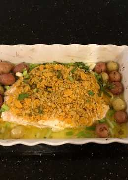 Crispy Topped Fish Fillets with Tiny Potatoes