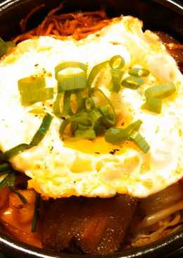 Bibimbap Korean stone pot mixed veggies over rice