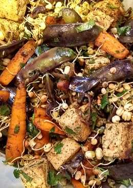 Warm carrot, mangetout and coriander salad