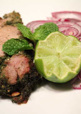 Roasted Leg of lamb with herbs and mushrooms
