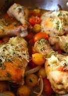 Easy One Pan Italian Dressing Roast Chicken + Fresh Tomato Sauce