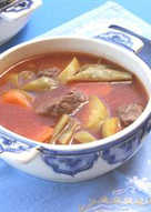 resep masakan vegetables and meat soup shorbet khodra w lahmeh