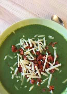 Broccoli and Pea Soup with Chorizo and Cheddar Cheese