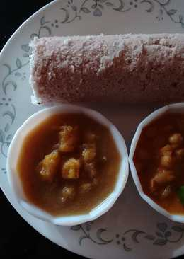 Puttu, Kadala curry,& chenda murian sweet