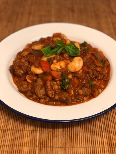 Game meat, butter bean and lentil cassoulet