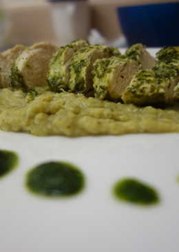 Cilantro lime chicken with spiced lentil puree