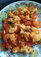 Stir fried egg and tomatoes
