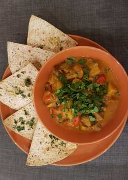 Potato, mushroom and coconut curry pot & coriander tortilla