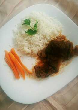 White rice and beef stew