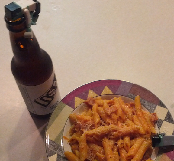 Penne with Bacon and Prosciutto in a Vodka Sauce