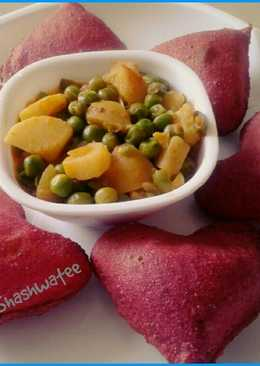 Beetroot poori and potato green peas dry sabzi