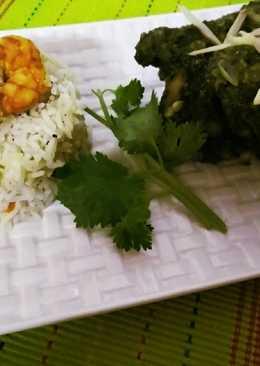 #prawn fried rice with coriander chicken