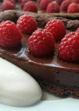 Vickys Double Chocolate Raspberry Tart, GF DF EF SF NF VEGAN
