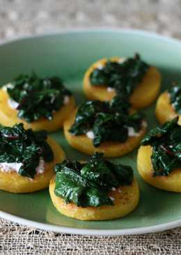 Polenta with goat cheese + greens