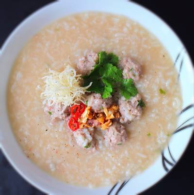 Rice congee with mince turkey balls #chinesecooking