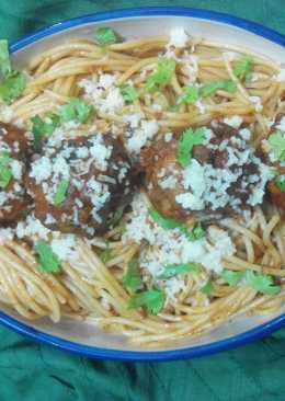 Spaghetti and chiballs with an Indian twist