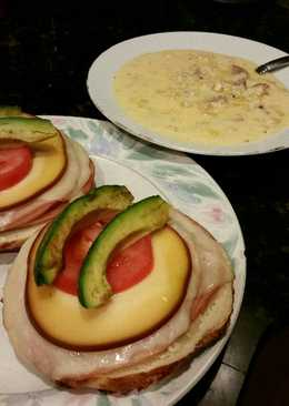 Brad's open faced sandwich with sausage corn chowder