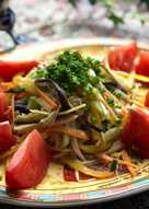 Japanese colorful vegetables salad with sesame dressing
