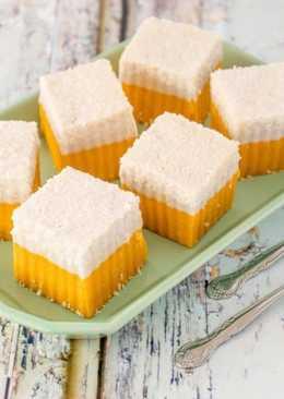 Pumpkin and Coconut Layered Cake (Kuih Talam)