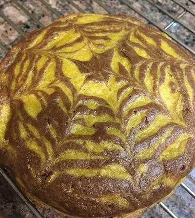 Tiger Cake: Eggless Mango Chocolate Cake
