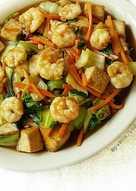 resep masakan tofu shrimp bokchoy stir fry in ginger sauce