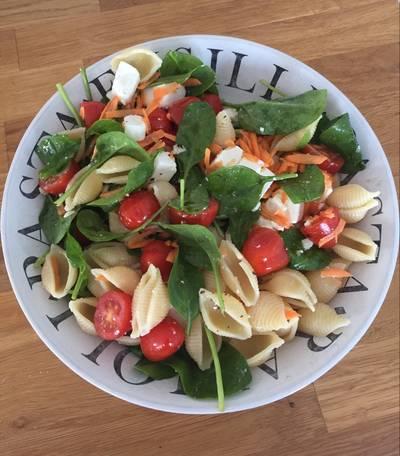 Feta, tomato, spinach pasta salad