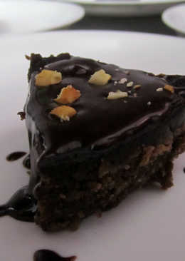 Chocolate fudge with Chocolate sauce and nuts