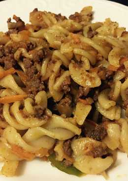 Fusilli pasta with mince meat