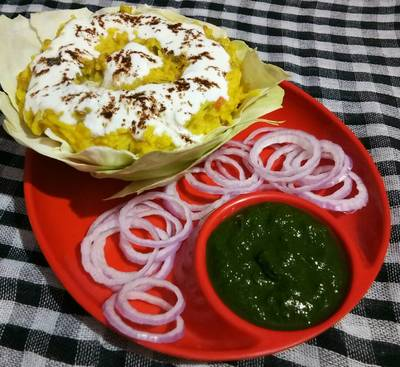Mong dal khichdi with coriander chutney