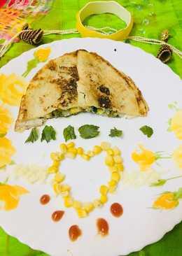 Corn spinach cheesy dosa