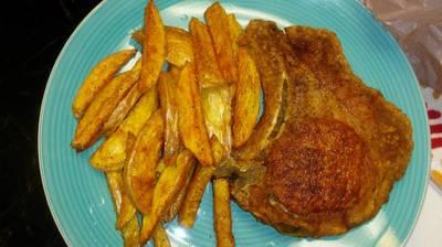 Pork Chops& Seasoned Fries