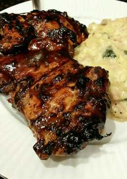Brad's grilled chicken with blueberry chipotle bbq sauce