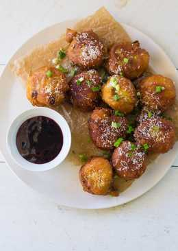 Savory Hatch Chile & Cheddar Donuts with Raspberry Wine Sauce