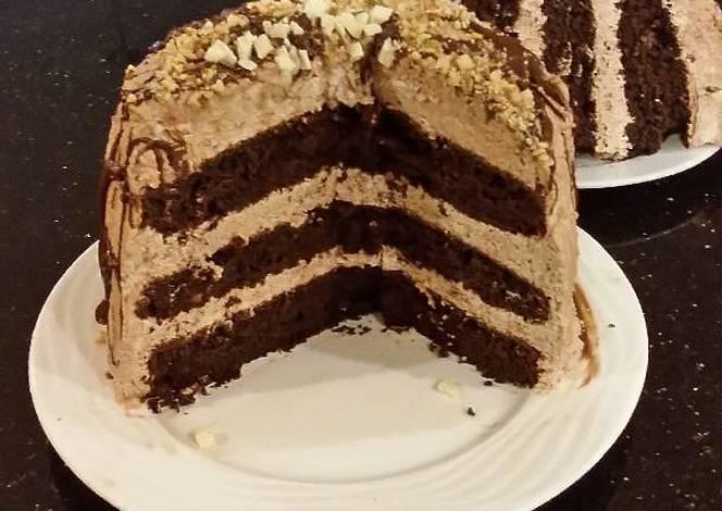Chocolate Layer Cake With Whipped Hazelnut Cream Filling