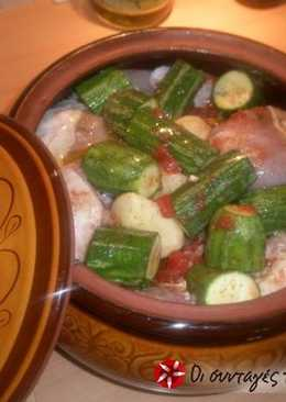 Chicken with vegetables in a casserole dish