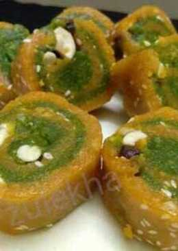 Split chickpea pistachio mawa sweet rolls