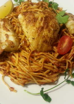 Chilean Seabass with Pasta in Marinara Sauce