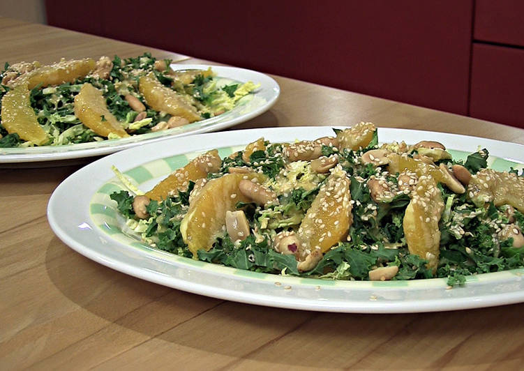 Kale and savoy cabbage salad with sesame dressing