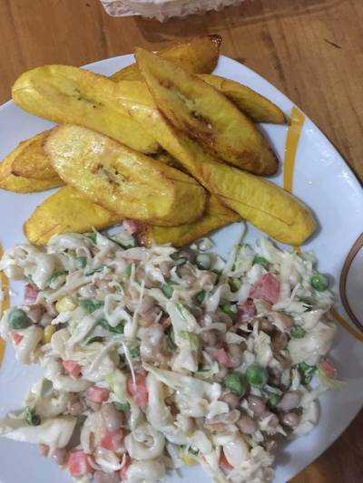 Fried Plantain and Salad