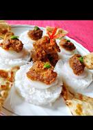 # lunch 2 mutton rice tikki with naan