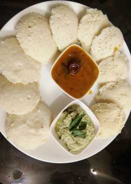 Healthy Oats Stuffed Soft Idli Sambhar with coconut chutney
